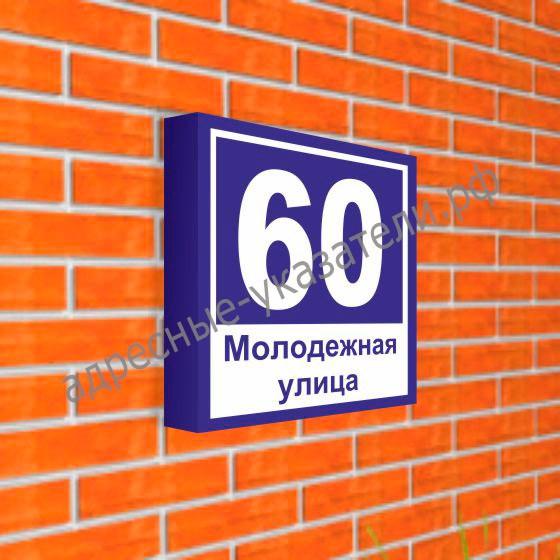 Магистральный совмещенный указатель «Название улицы и номер дома » 600х600 мм