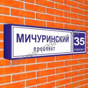 Квартальный указатель совмещенный «Название улицы и номер дома» 1600х350 мм
